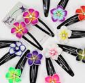 Island Flower fimo petal and CZ crystal stud hair clips