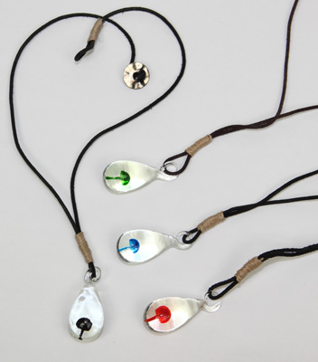 Glass mushroom pendant on hemp wrapped rought leather thong necklace