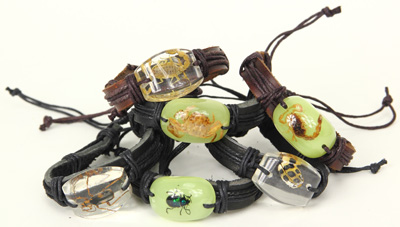 Leather and encased insect bracelet