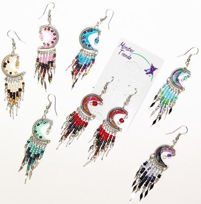 Peruvian beaded crescent moon design earrings
