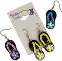 CoCo flip flop earrings with matching seed bead straps and hand painted flowers