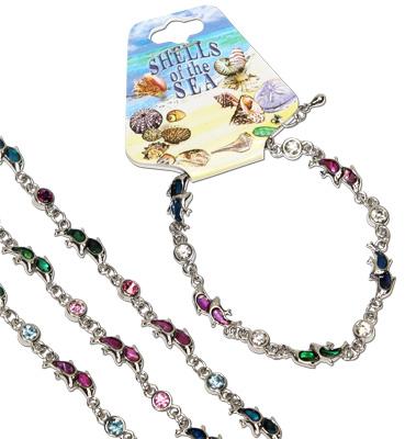 Paua shell dolphin bracelet with CZ crystal decoration