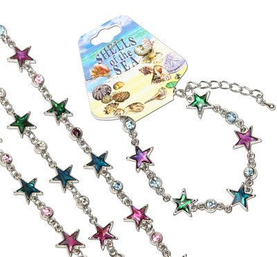 Paua shell celestial star bracelet with CZ crystal decoration