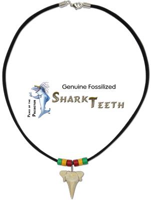 Rasta beaded shark tooth suede neck