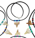 Rasta beaded shark tooth suede neck