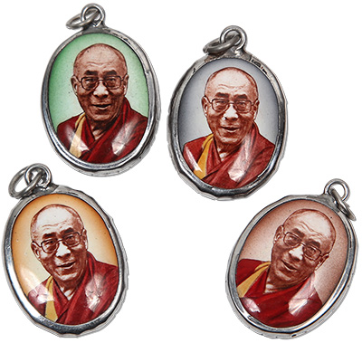 Enamel Dalai Lama Pendant leather necklace