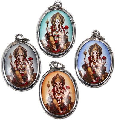 Enamel Ganesh pendant on leather necklace