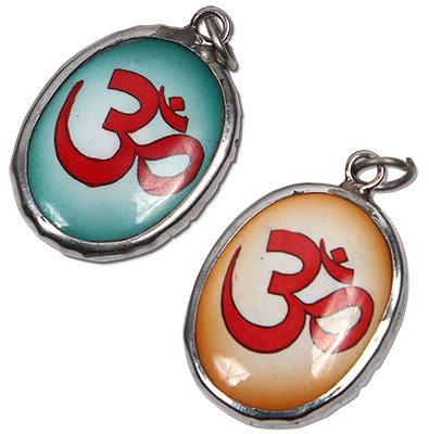 Enamel Om pendant on ceramic beaded  leather necklace