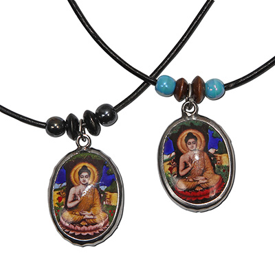 Enamel Buddha Pendant on Ceramic Beaded Necklace