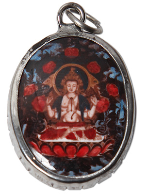 Enamel Chenezig Buddha Pendant on Ceramic Beaded Necklace