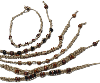 Wood and shell beaded hemp anklets