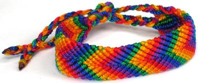 MC167B-RNB, Wide rainbow 6 color flat braided bracelet