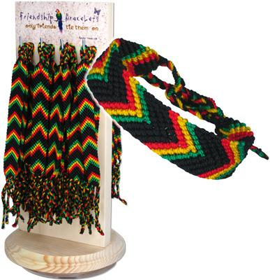 DK-242-MC167-RST 60pc Rasta Peruvian friendship bracelets display kit
