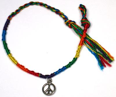 WL102-139B, String friendship bracelet with peace sign charm